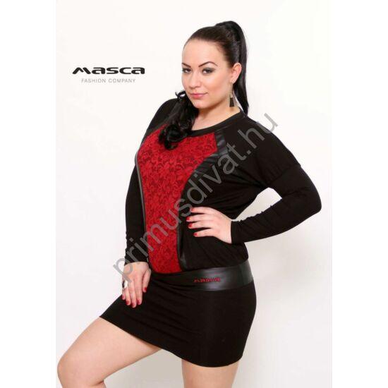Masca Fashion denevérujjú, bordó csipke és műbőr betétes fekete alkalmi tunika, miniruha