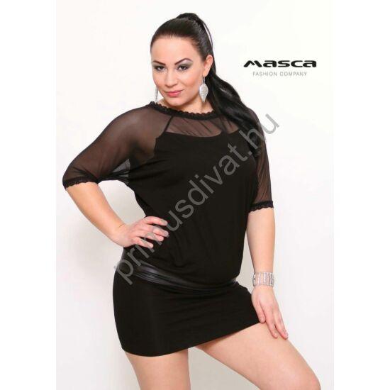 Masca Fashion raglán ujjú, muszlinbetétes, csipkeszegélyes fekete alkalmi tunika, miniruha