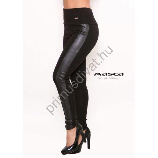 Masca Fashion műbőr betétes magas derekú vastag, belül bolyhos fekete viszkóz cicanadrág, leggings, jól táguló rugalmas anyagból