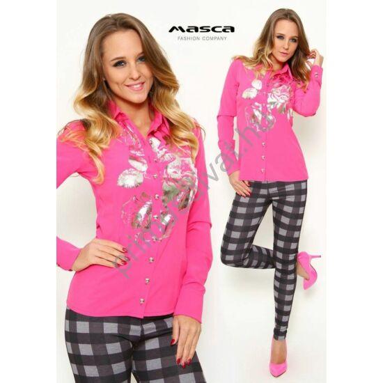 Masca Fashion hosszú ujjú, pink színű szövött elasztikus puplin ingblúz, ezüst fólianyomattal