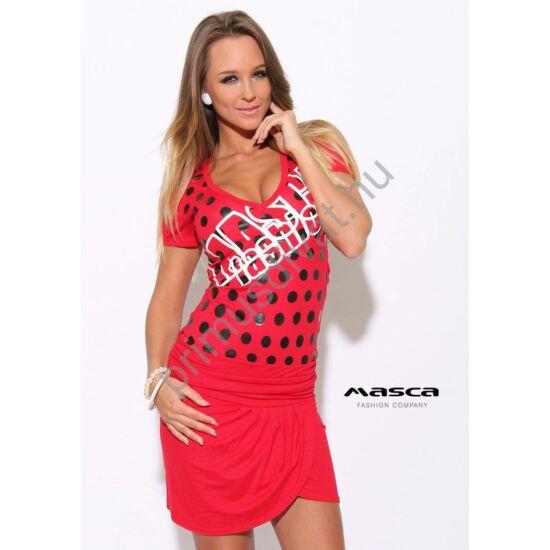Masca Fashion ráncolt, átlapolt szoknyarészű fekete pöttyös piros miniruha, fehér márkafelirattal