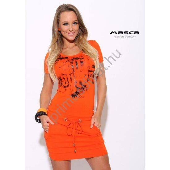 Masca Fashion rövid ujjú narancssárga zsebes miniruha, csípőjén ékszerkarikás bújtatójú megkötővel, elején nyomott mintával