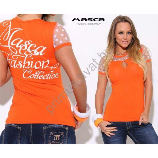 Masca Fashion csepp-kivágott dekoltázsú, pöttyös tüll vállbetétes narancssárga felső, hátán fehér mintával, márkafelirattal