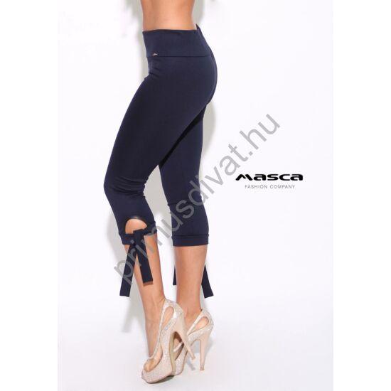 Masca Fashion magasított derekú háromnegyedes, megkötős sötétkék leggings, cicanadrág
