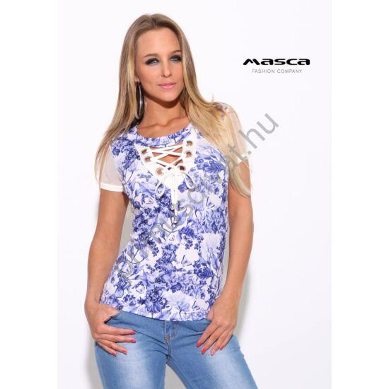 Masca Fashion ékszerkarikás fűzős dekoltázsú, muszlin rövid ujjú kék virágos fehér felső