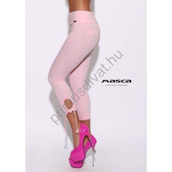 Masca Fashion magasított derekú háromnegyedes, megkötős rózsaszín leggings, cicanadrág