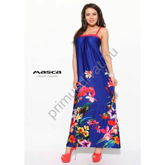 Masca Fashion fonott pántos, mellén csípéses, lefelé bővülő, virágmintás királykék laza maxi ruha