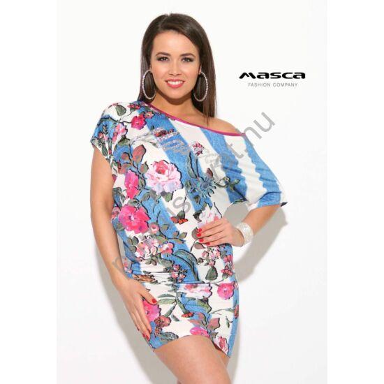 Masca Fashion kék-fehér átlós csíkos, aszimmetrikus vállra húzható, virágmintás lezser miniruha, ezüst köves márka-felirattal
