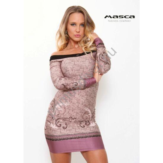 289338d58b Masca Fashion vállra húzós szűk lilás színű görög és indamintás hosszú ujjú  miniruha