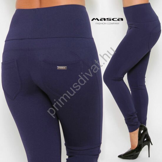 Masca Fashion magas derekú középkék cicanadrág, erősebb tartású rugalmas anyagból, hátul zsebfedőkkel, fém táblás márkajelzéssel