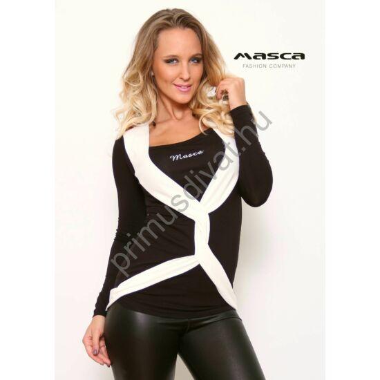 Masca Fashion csavart elejű fehér betétes hosszú ujjú szűk fekete felső 3042034242