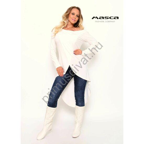 Masca Fashion átlapolt elejű, hátul hosszabb, íves szabású fehér felső, tunika