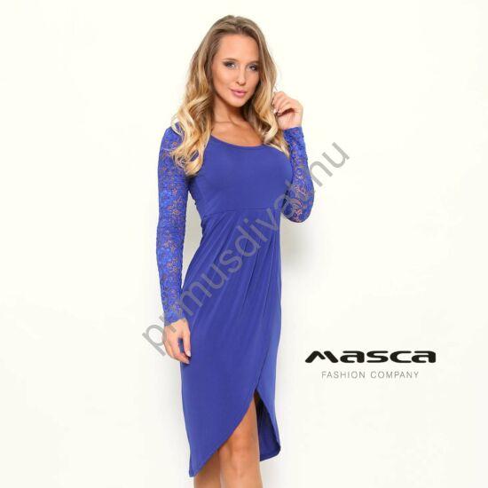 Masca Fashion mell alatt elvágott átlapolt, íves aljú hosszú csipkeujjú királykék maxi tunika, ruha