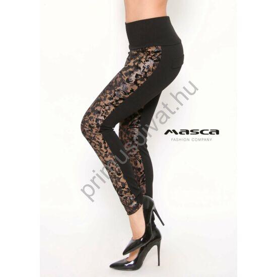 Masca Fashion nyomott mintás bársonyos elejű fekete, magas derekú leggings, cicanadrág, hátán zsebfedőkkel