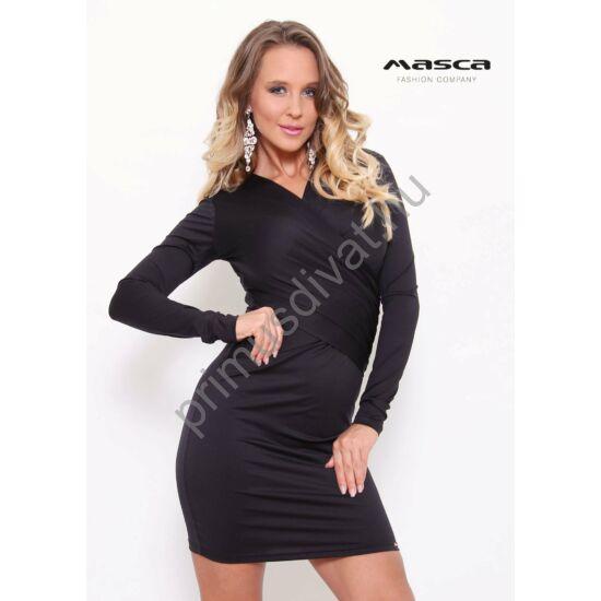 Masca Fashion átlapolt, ráncolt elejű hosszú ujjú fekete alkalmi miniruha