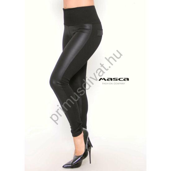 Masca Fashion magas derekú műbőr elejű rugalmas fekete cicanadrág, leggings, hátán zsebfedőkkel