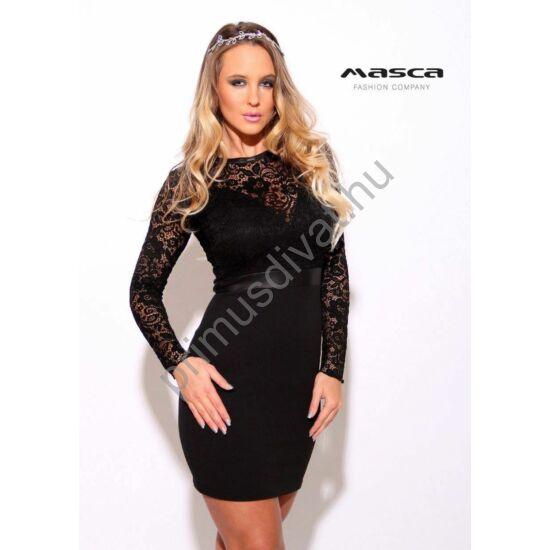Masca Fashion részben alábélelt csipke felsőrészű fekete alkalmi miniruha, mell alatt műbőr betéttel