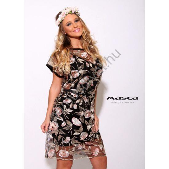 Masca Fashion két részes, rövid ujjú virágos hímzett tüllruha, spagettipántos szűkebb fekete alsó résszel, övvel