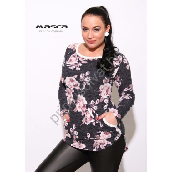 Masca Fashion rózsaszín virágmintás, szürke melange hosszú ujjú zsebes tunika, alján íves szabással