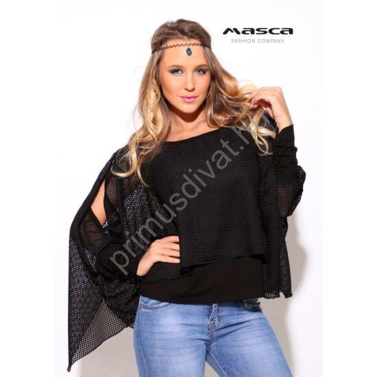 Masca Fashion kétrétegű, hasított ujjú lezser fekete hálós felső, viszkóz alábéleléssel