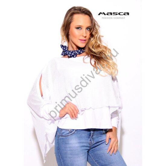 Masca Fashion kétrétegű, hasított ujjú lezser fehér hálós felső, viszkóz alábéleléssel