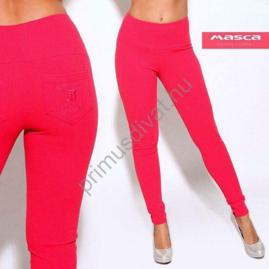 Masca Fashion magasított derekú málnapiros elasztikus cicanadrág, leggings, hímzett zsebbel