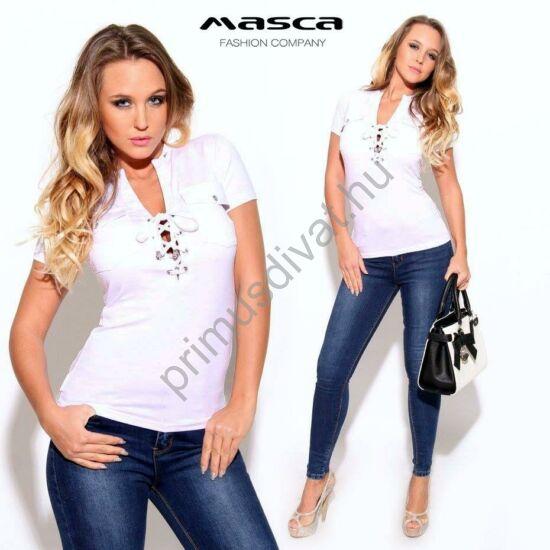 Masca Fashion állónyakú, fűzős dekoltázsú rövid ujjú fehér felső, ékszerpatentos zsebekkel