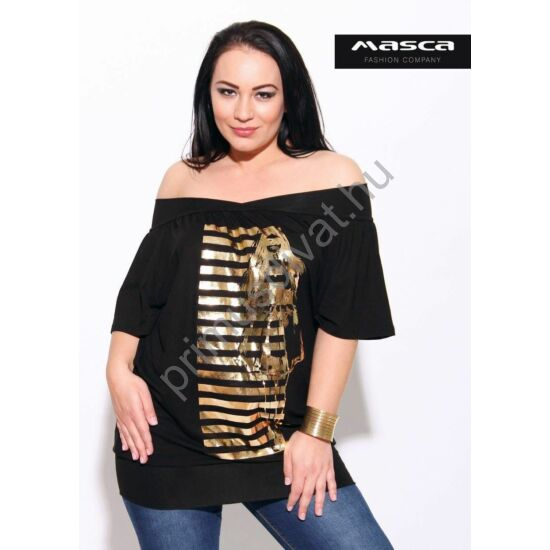 Masca Fashion vállra húzható T-ujjú bő fekete felső, tunika, fémes arany nyomott mintával