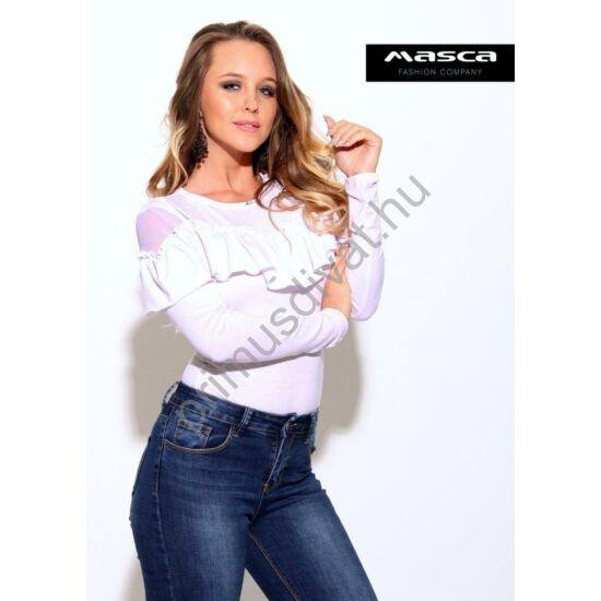 Masca Fashion muszlin betétes nyakú, fodor rátétes hosszú ujjú fehér body