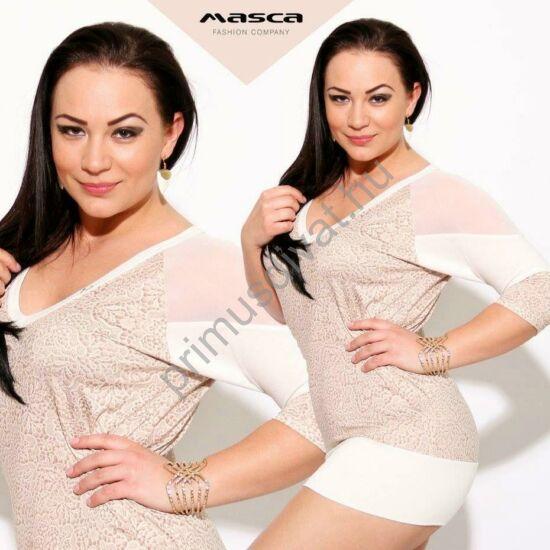 Masca Fashion muszlin betétes vállú, raglán ujjú nyomott csipkemintás, törtfehér-púder színű felső, tunika