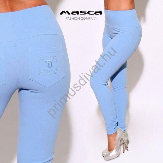 Masca Fashion magasított derekú világoskék elasztikus cicanadrág, leggings, hímzett zsebbel