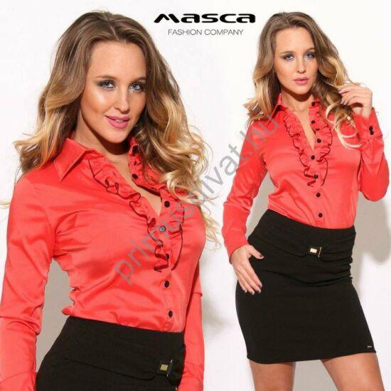 Masca Fashion fodorszegélyes gombolópántos, hosszú ujjú piros elasztikus selyem ingblúz