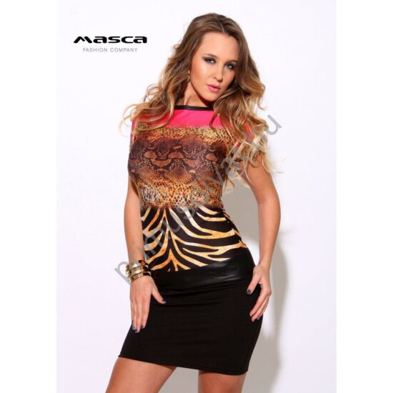 Masca Fashion csónaknyakú, színátmenetes állatmintás rövid ujjú miniruha, csípőjén műbőr betéttel