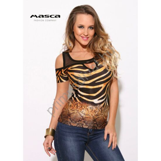 Masca Fashion muszlin trikópántos, nyitott vállú, kivágott dekoltázsú állatmintás rövid ujjú felső