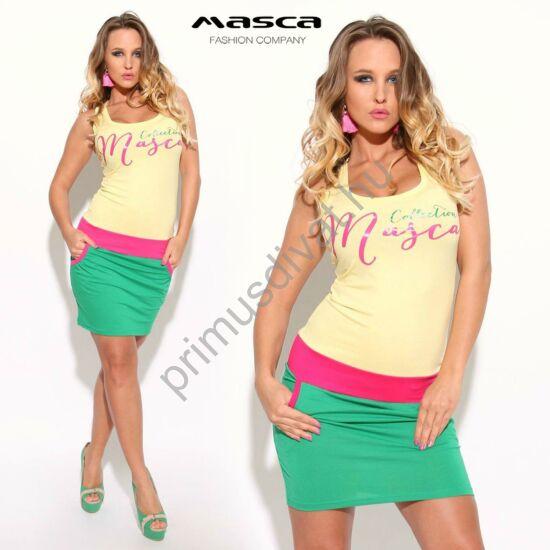 Masca Fashion trikópántos ujjatlan sárga-zöld zsebes miniruha, pink betéttel, márkafelirattal