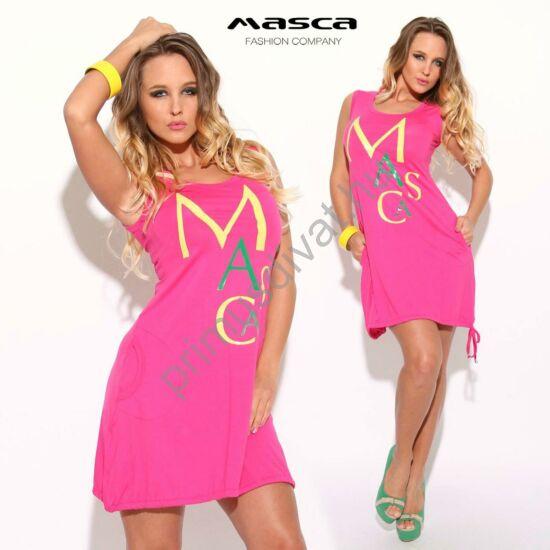 Masca Fashion A-vonalú ujjatlan, zsebes lezser pink tunika, miniruha, elején felirattal, alján befűzött kötővel