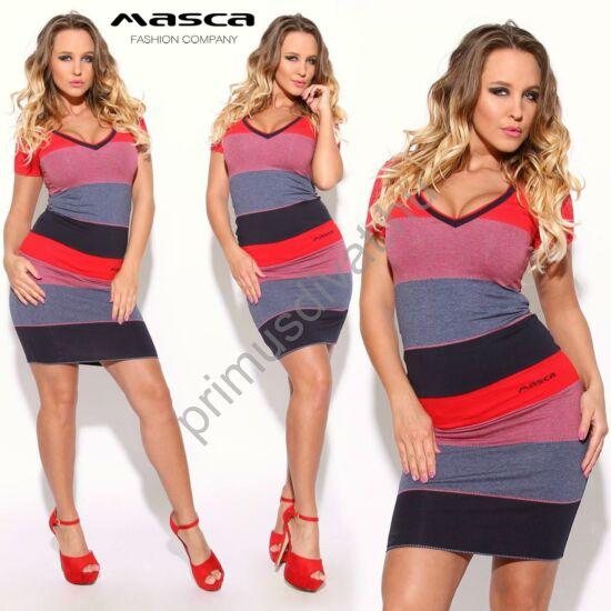 Masca Fashion V-nyakú, piros-kék csíkos rövid ujjú miniruha, hímzett márkalogóval