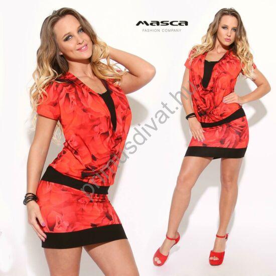 Masca Fashion fekete betétes kámzsanyakú, piros virágmotívumos rövid ujjú miniruha