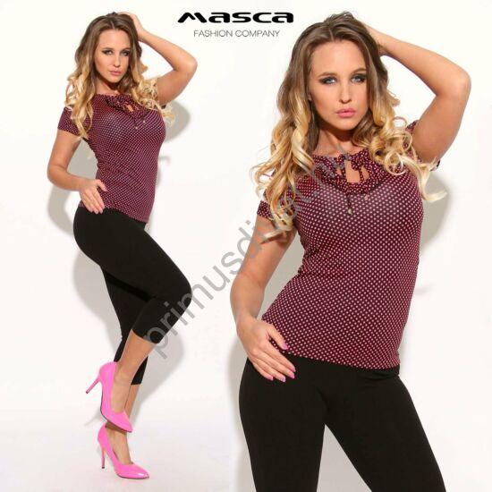 Masca Fashion fodorszegélyes kivágott dekoltázsú, kötős nyakú, fekete alapon pink pöttyös rövid ujjú felső