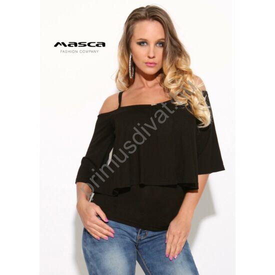 Masca Fashion vállra húzós spagettipántos szűk fekete felső, laza, bővebb felső réteggel