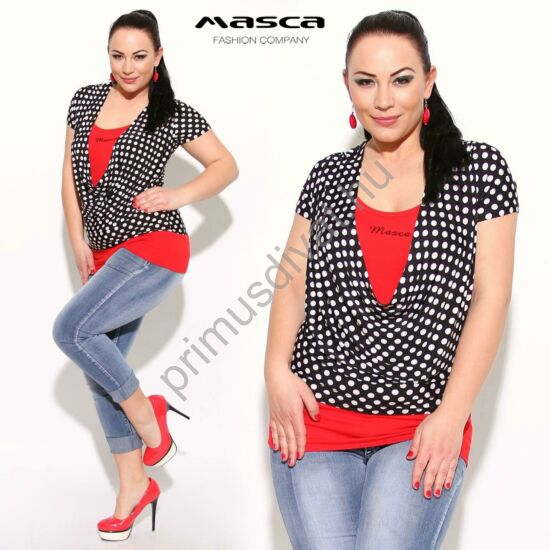 Masca Fashion piros betétes kámzsanyakú, fekete-fehér pöttyös rövid ujjú felső, tunika