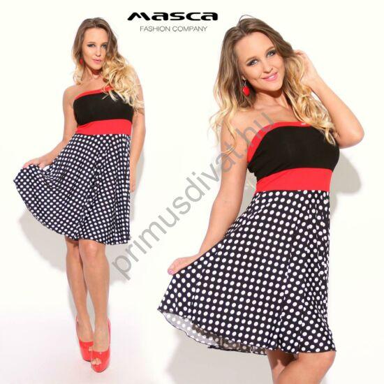 Masca Fashion pánt nélküli piros betétes, fekete-fehér pöttyös, A-vonalú, loknis lenge miniruha