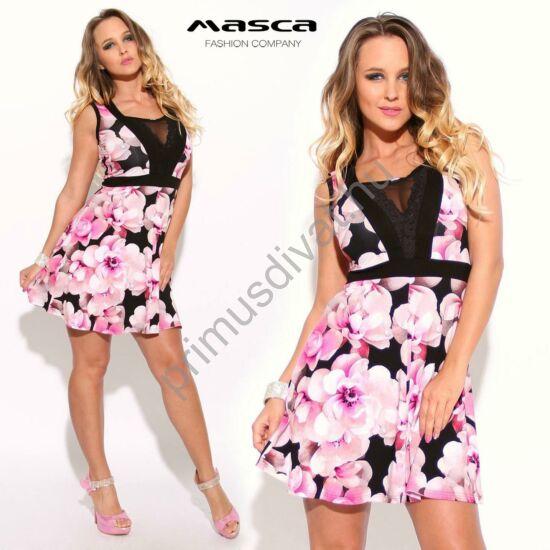 Masca Fashion csipkeszegélyes muszlin betétes dekoltázsú, rózsaszín cseresznyevirág mintás ujjatlan loknis miniruha