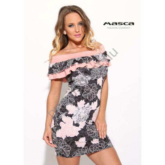 Masca Fashion dupla fodorszegélyes vállra húzós nyakkivágású, fekete alapon virágmintás miniruha, rózsaszín betéttel