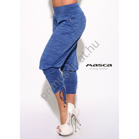 Masca Fashion zsebes kék melange lezser nadrág, széles passzéval, szárán kötővel ráncolva
