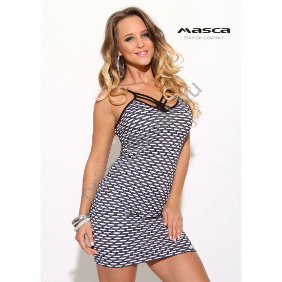 Masca Fashion spagettipántos, anyagában kidomborodó mintás fekete-fehér ujjatlan szűk miniruha