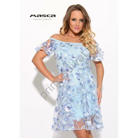 Masca Fashion kétrétegű, vállra húzós rövid ujjú, virágos hímzett világoskék tüllruha, szűkebb viszkóz alábéleléssel