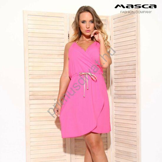 Masca Fashion átlapolt mellrészű, arany műbőr nyakba kötős, béleletlen pink lenge szövött nyári ruha