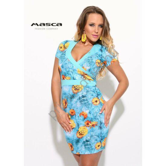 Masca Fashion átlapolt mellrészű sárga virágmintás világoskék rövid ujjú miniruha