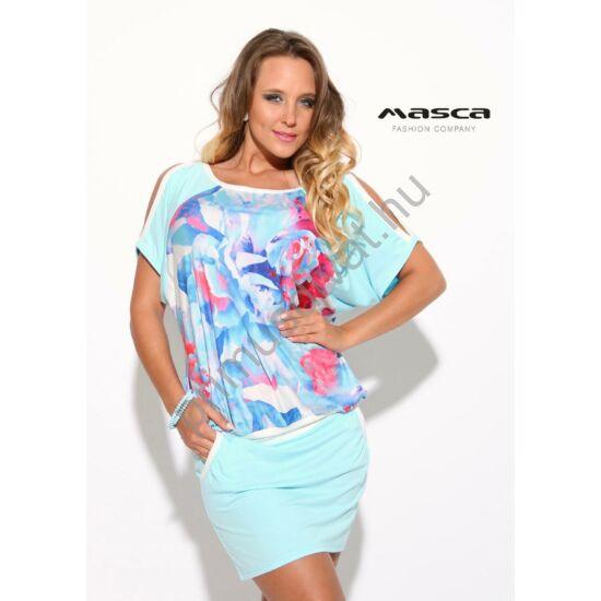 Masca Fashion nyitott vállú, T-ujjú virágmintás világoskék lezser miniruha, zsebes szoknyarésszel